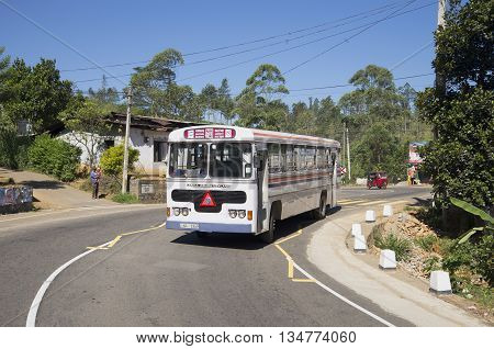 SIGIRIYA, SRI LANKA - MARCH 19, 2015: Intercity bus