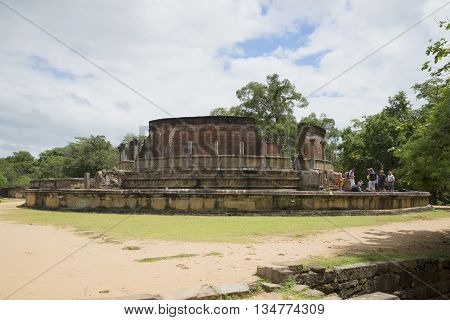POLONNARUWA, SRI LANKA - MARCH 15, 2015: View of the old terrace