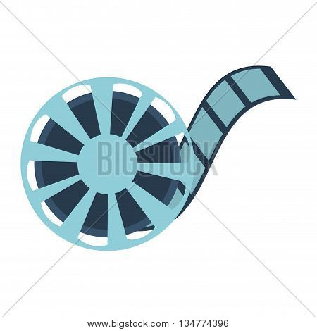 blue film reel vector illustration isolated over white