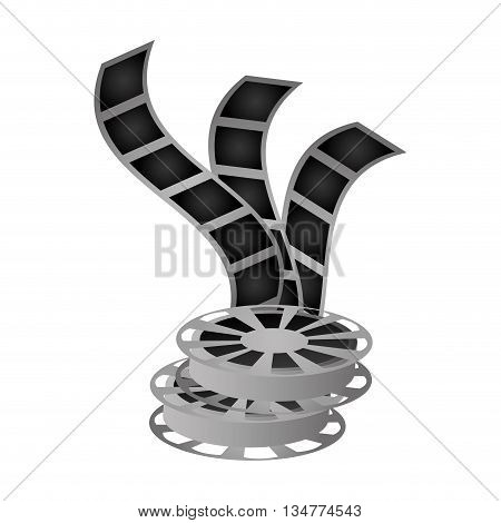 three film reels vector illustration isolated over white