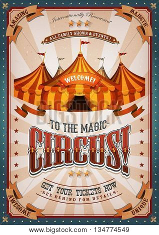 Illustration of retro and vintage circus poster background with marquee big top elegant titles and grunge texture for arts festival events and entertainment background