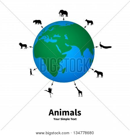 Vector illustration of the concept of animal welfare. Silhouettes of animals on the background of the planet. Protection of animals.