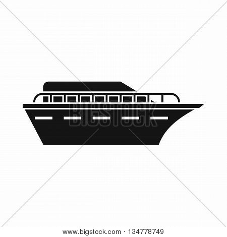 Powerboat icon in simple style isolated on white background. Sea transport symbol