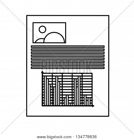 paper document with lines, graph and picture vector illustration isolated over white
