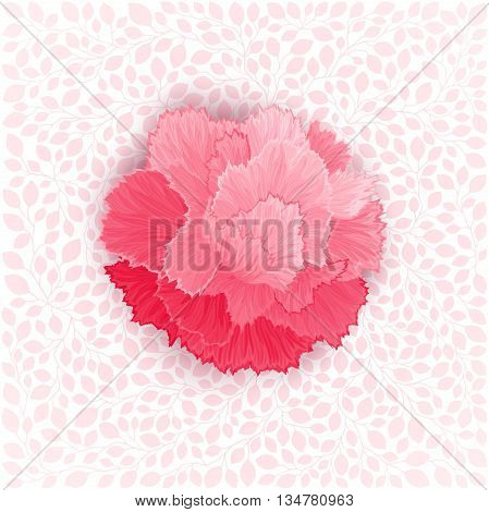 Pink burgeon blossom of carnation on leaves texture. Vector design element