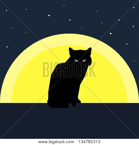 Black cat silhouette against the moon. Nature and animals theme. Flat style.