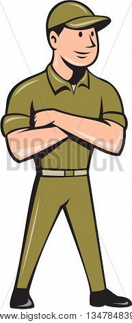 Illustration of a tradesman worker standing with arms crossed looking to the side viewed from front set on isolated white background done in cartoon style.