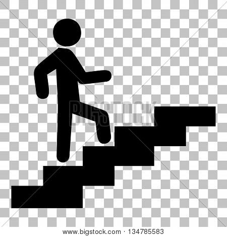 Man on Stairs going up. Flat style black icon on transparent background.