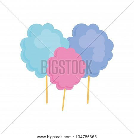 Sugar food concept represented by cotton candy illustration, flat and isolated design