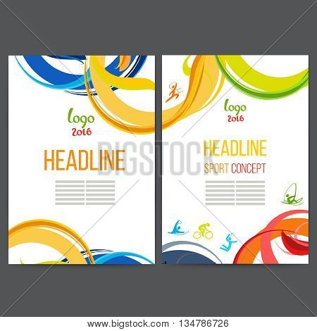 Vector template design strips of colored rings and waves. Concept sport brochure