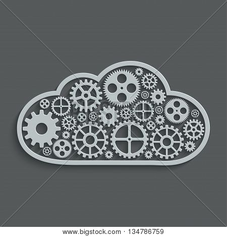 vector modern mechanism computing cloud concept. Technology gears background