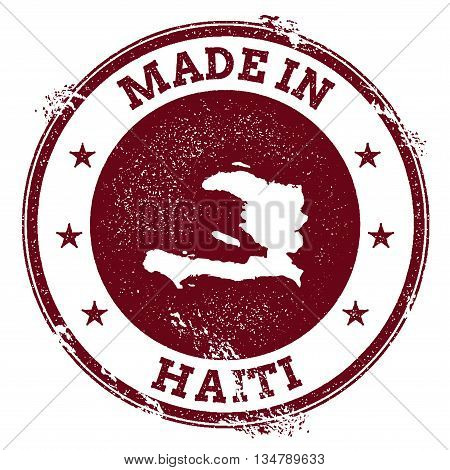 Haiti Vector Seal. Vintage Country Map Stamp. Grunge Rubber Stamp With Made In Haiti Text And Map, V