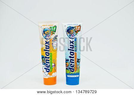 Berezovitsa, Ukraine - Circa June, 2016: Set Of Kids Toothpaste Dentolux