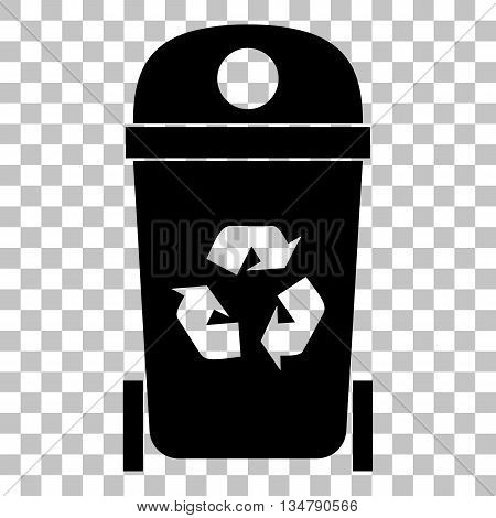 Trashcan sign illustration. Flat style black icon on transparent background.