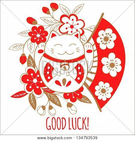 Cute greeting card with a white cat, lucky, Maneki Neko. On his belly painted fan that symbolize good luck and wealth.