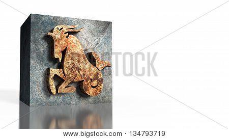 3D illustration of zodiac sign of Capricorn
