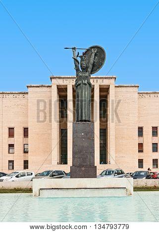 ROME, ITALY- JULY 7, 2016: the goddess Minerva in the University La Sapienza