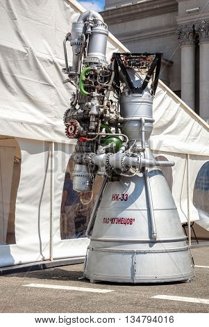 SAMARA RUSSIA - JUNE 12 2016: Space rocket jet engine NK-33 by the Corporation