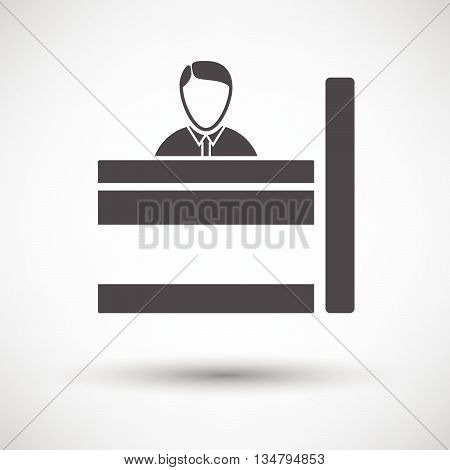 Bank clerk icon on gray background round shadow. Vector illustration. poster