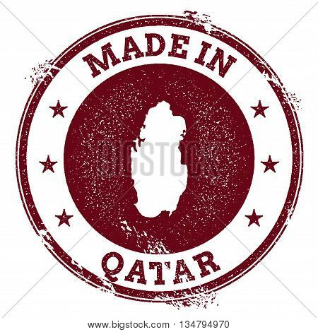 Qatar Vector Seal. Vintage Country Map Stamp. Grunge Rubber Stamp With Made In Qatar Text And Map, V