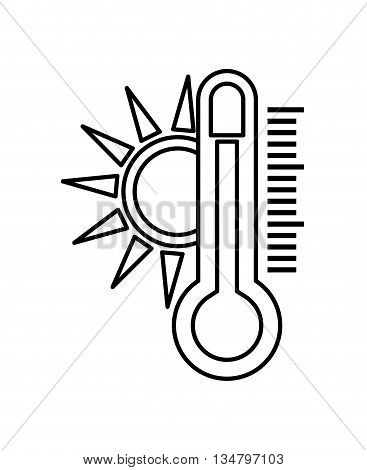 Weather intrument representated by traditional thermometer  with striped figure design over isolated and flat illustration