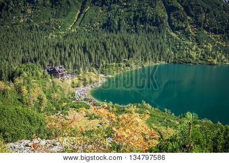 Landscape of mountain lake Morskie Oko near Zakopane Tatra Mountains Poland