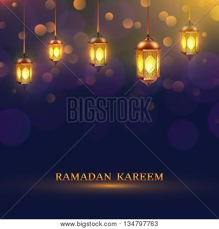 Ramadan lights poster several glowing lamps hanging from the ceiling on a dark blue background and title Ramadan Kareem vector illustration