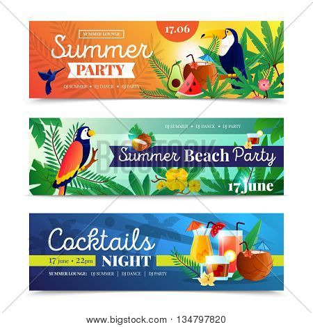 Tropical cocktail summer beach night party date time announcement 3 colorful horizontal banners set abstract isolated vector illustration