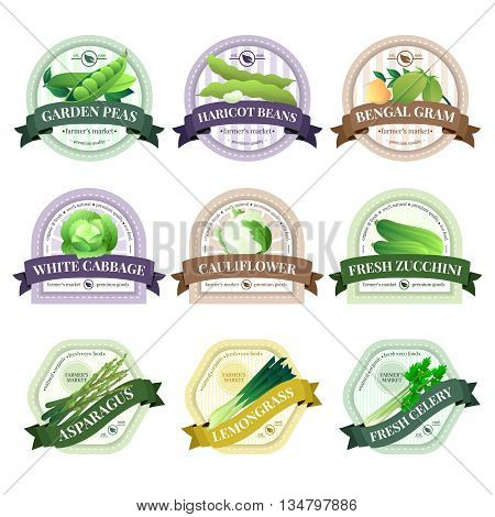 Organically grown fresh ecological vegetables emblems labels set   farmer market with cauliflower cabbage celery isolated vector illustration