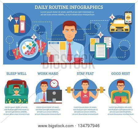 Man daily routine infographics with descriptions of sleep wall work hard stay feat and good rest vector illustration