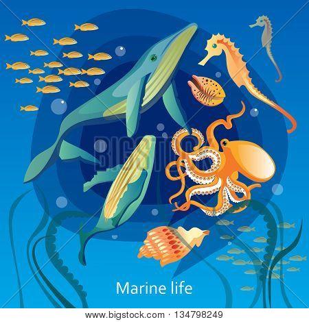 Ocean Underwater Life Background. Sea Underwater Life Vector Illustration. Marine Underwater Life Design. Underwater Life Cartoon Decorative Symbols.