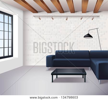 Realistic loft interior concept in minimalistic style with sofa coffee table window lamps and light brick walls vector illustration