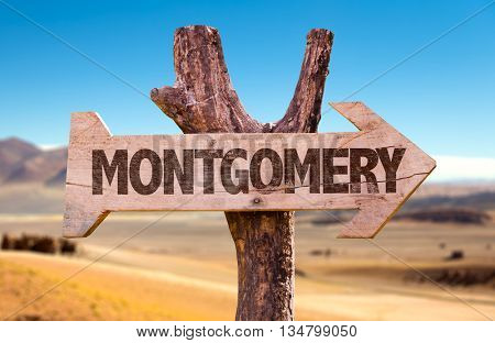 Montgomery wooden sign with a desert background