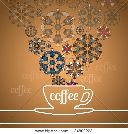 Line drawn cup of coffee and abstract flowers on golden background stock vector.
