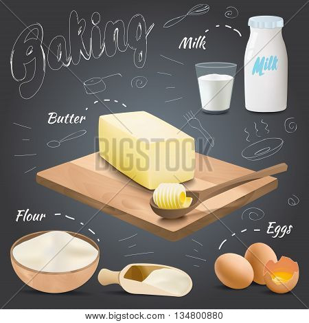 Set of vector baking ingredients design with butter flour eggs milk. Kitchen utensils for cooking