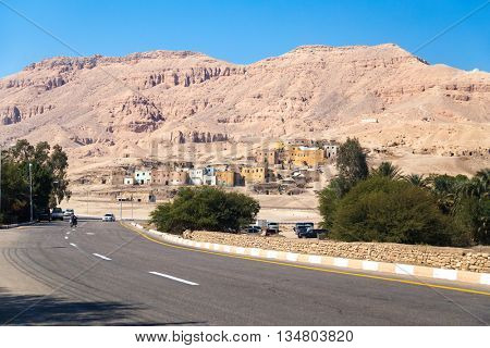 Road in Valley of the Kings (Egypt) with mountains in background.