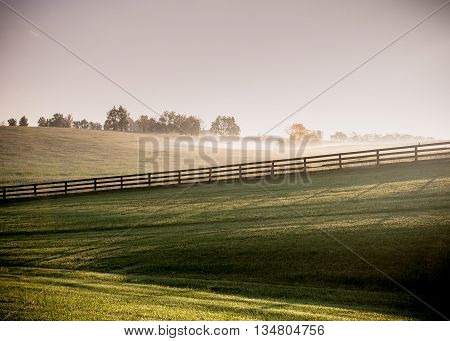 Long Shadows of Horse Fences in the Fog as the sun rises over the hills