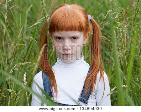 Little sad girl with a puffed cheeks looking reproachfully at the camera. Portrait close up on a background of green grass.