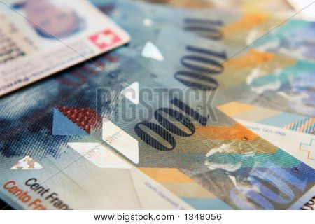 conceptual close up of swiss money and document poster