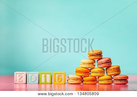 Stack Of Macarons With 2016 Woodblock Numbers