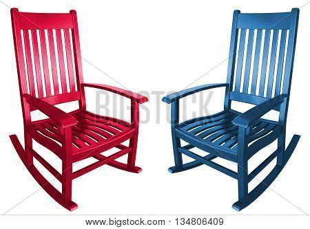 Rocking chair sitting on a porch in summer relaxing at a beach house or mountain house