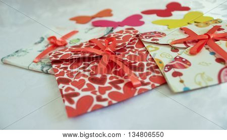 The bright festive envelopes made of paper