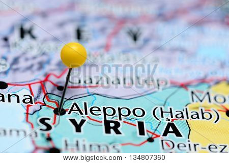 Aleppo pinned on a map of Syria