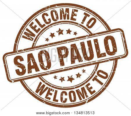 welcome to Sao Paulo stamp. welcome to Sao Paulo.