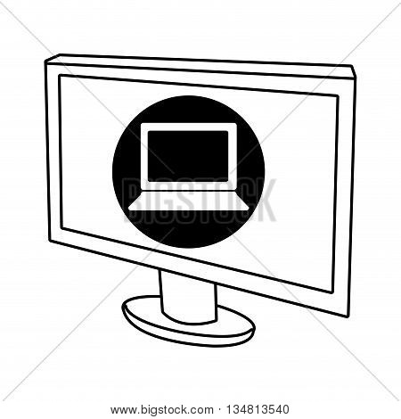 electronic device screen with black circle and white laptop icon over isolated background, vector illustration