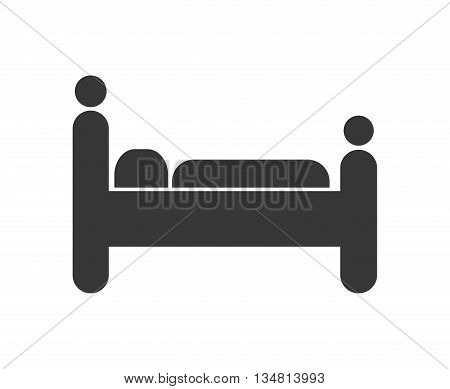Resting concept represented by pictogram resting on bed over flat and isolated design