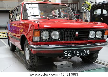 SZCZECIN, POLAND - May 31, 2016: the car Fiat 125 produced in Poland from 1967 to 1972 in Museum of Technology and Communication in Szczecin