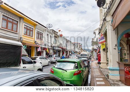 Phuket - May 29 : Old building Sino Portuguese style in Phuket on May 29 2016 in Phuket Thailand. Old building is a most famous tourist destination of Phuket.