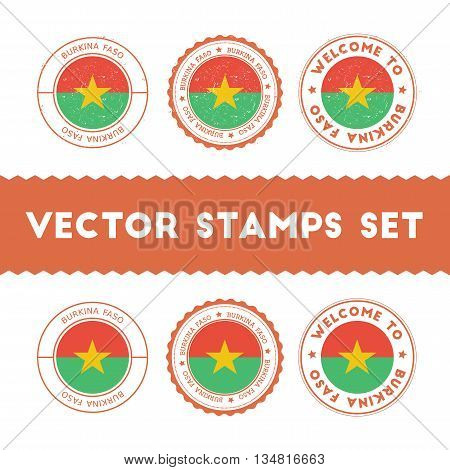 Burkinabe Flag Rubber Stamps Set. National Flags Grunge Stamps. Country Round Badges Collection.