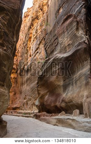 The Siq, The Narrow Slot-canyon That Serves As The Entrance Passage To The Hidden City Of Petra, Jor